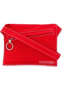 Off-White Bolsa Transversal Jeans - Vermelho