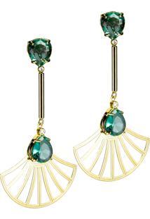 Brinco Kumbayá Haste Longa E Leque Arabesco Cristal Oval Semijoia Banho De Ouro 18K Cristal Verde Esmeralda - Kanui