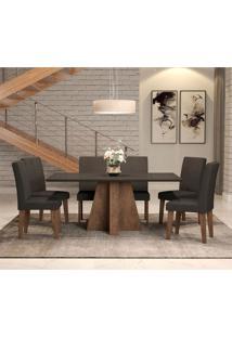 Conjunto De Mesa De Jantar Com 6 Cadeiras Estofadas Amanda Suede Preto