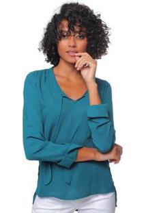 Camisa Sob Crepe Manga Longa Feminina - Feminino-Verde