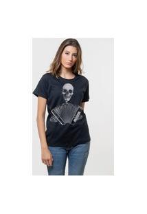 Camiseta Jay Jay Básica Caveira Sanfona Preta