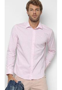 Camisa Xadrez Manga Longa Forum Smart Masculina - Masculino-Branco+Rosa