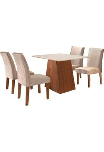 Conjunto De Mesa De Jantar Sevilha Com 4 Cadeiras Classic Ll Suede Off White E Bege