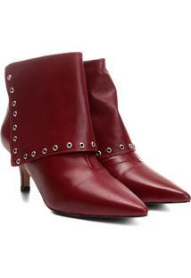 Bota Couro Shoestock Rocker Feminina - Feminino-Bordô