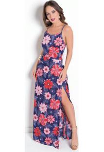 Vestido Longo De Alças E Com Fenda Floral