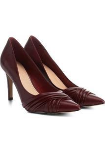 Scarpin Couro Shoestock Salto Alto Drapeado