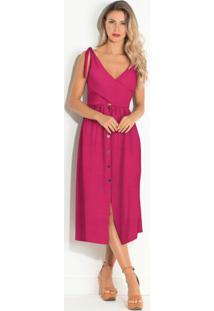 Vestido Com Botões Frontais Pink