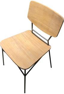 Cadeira Beaver Cor Driftwood Com Base Aco Grafite - 44631 - Sun House