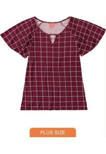 Blusa Bordô Quadriculada Com Abertura