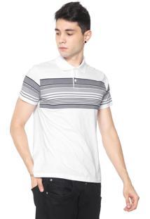 Camisa Polo Malwee Slim Listras Branca