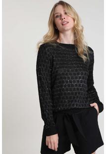 Suéter Feminino Em Tricô Com Paetês Decote Redondo Preto