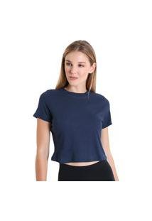 Blusa Cropped Canelada - Azul Marinho - Líquido