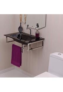 Gabinete Para Banheiro De Vidro William Astra Preto