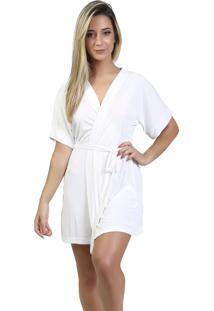Robe Mardelle Em Microfibra Branco - Branco - Feminino - Dafiti