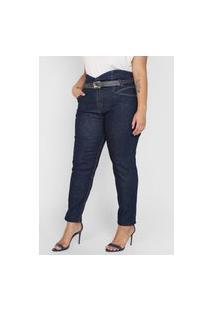 Calça Jeans Dimy Reta Pespontos Azul-Marinho