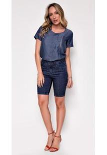 Bermuda Jeans Express Pedal Mada - Feminino-Azul