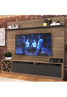 Rack Com Painel Para Tv Até 65 Polegadas 2 Portas Marrom/Preto 2022 - Quiditá Móveis