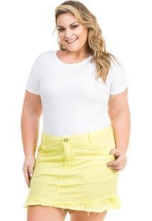 Saia Confidencial Extra Plus Size Jeans Color Com Babado Feminina - Feminino-Amarelo Claro