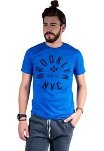 Camiseta Mister Fish Estampado Brooklyn Nyc Masculina - Masculino-Azul Royal