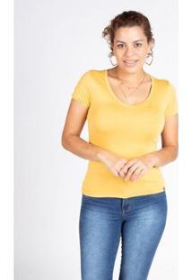 Camiseta Básica Manga Curta Malha Lunender Feminina - Feminino-Amarelo