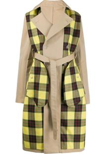 Unravel Project Trench Coat Com Recorte Xadrez - Neutro