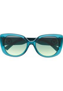 Versace Eyewear Óculos De Sol Oversized Com Lentes Coloridas - Azul
