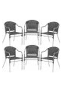 Cadeiras 6Un Para Area Varanda Fibra Sintetica Sala Cozinha Jardim Sacada Floripa - Preto