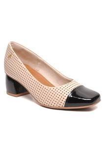 Sapato Scarpin Usaflex Feminino Ac2516 Usaflex Bege