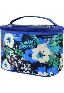 Necessaire Frasqueira Estampada Tam. G Jacki Design Miss Douce Azul Floral - Kanui