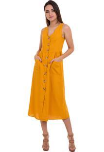Vestido Kinara Midi Liso Amarraã§Ã£O Nas Costas Amarelo - Amarelo - Feminino - Algodã£O - Dafiti