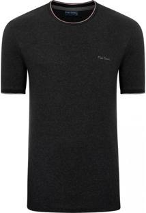 Camiseta Pierre Cardin Moline Com Retilíneas Preto