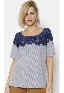 Blusa Listrada Com Renda - Azul Marinho & Brancasimple Life