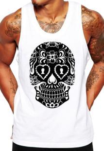 29d932a14 ... Camiseta Regata Criativa Urbana Caveira Mexicana Cartas - Masculino- Branco
