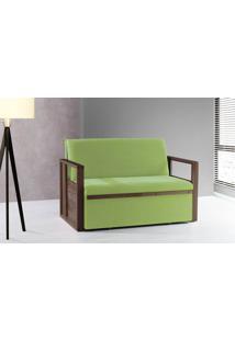 Sofá Cama Compacto Para Casal Akropi - Sofá Bicama Estofado Verniz Castanho Tecido Verde - 128X90X85Cm