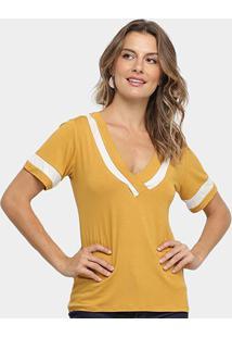 Blusa Los Wear Bicolor Gola V Feminina - Feminino-Mostarda