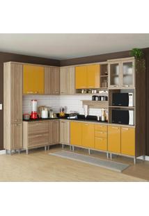 Cozinha Compacta 16 Portas C/ Tampo Pt E Vidro 5803 Amarelo/Argila - Multimóveis