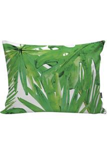 Capa De Almofada De Folhagens- Verde & Branca- 30X50Stm Home
