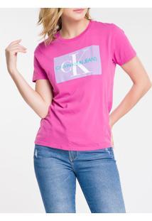 Blusa Mc Slim Logo Meia Reat Gc Re Issue - Uva Claro - Pp