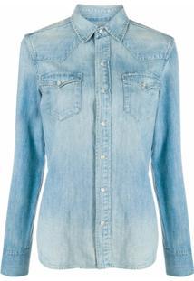 Polo Ralph Lauren Camisa Jeans Com Efeito Desbotado - Azul