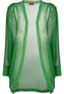 Missoni Cardigã Translúcido Com Bordado - Verde