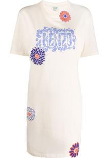 Kenzo Vestido Reto Com Aplicação Floral - Neutro