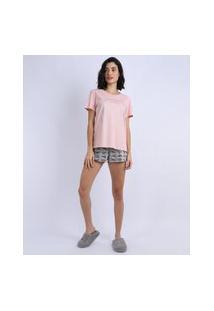 Pijama Feminino Mulher Maravilha Com Brilho Manga Curta Rosa