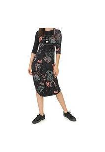 Vestido Hang Loose Midi Uniprint Preta