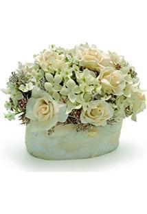 Centro De Mesa Bouquet Vaso Red Com Rosas E Mosquitinho Branco