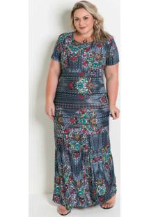 Vestido Longo Floral Com Fenda Plus Size