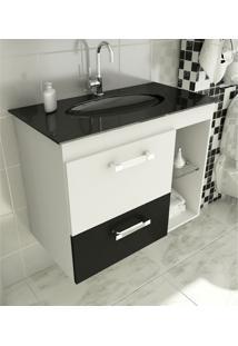 Gabinete Para Banheiro 80 Cm Com 2 Peças Vetro 12 Branco E Preto Tomdo