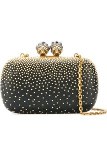 Alexander Mcqueen Clutch 'Queen And King' De Couro - Preto