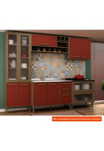 Cozinha Compacta Vitória Ii 9 Pt 5 Gv Vermelha E Avelã