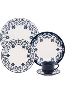 Aparelho De Jantar 20 Peças Floreal Energy Branco E Azul Oxford