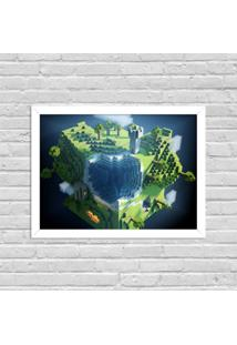 Quadro Decorativo Gamer Minecraft World Branco - Grande